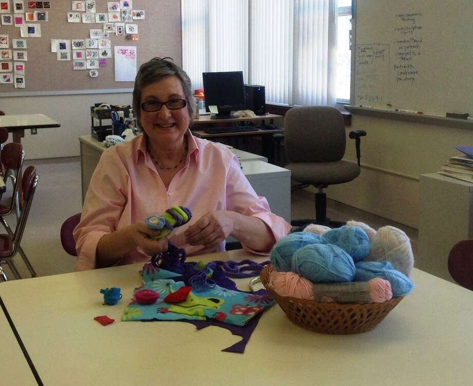 Gemma Dowd, member of the Fine Arts Department is preparing her project for the Design your own Fashion Accessory class to be held at Discover Mercy.