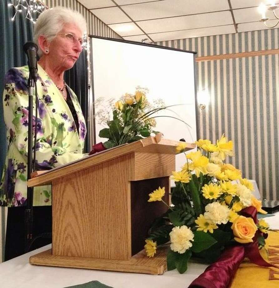 John Haeger @OneidaPhoto on Twitter/Oneida Daily Dispatch -- St. Patrick's Elementary School principal Peg Brown gives her remarks to Oneida Area Zonta Club members on Wednesday, March 20.