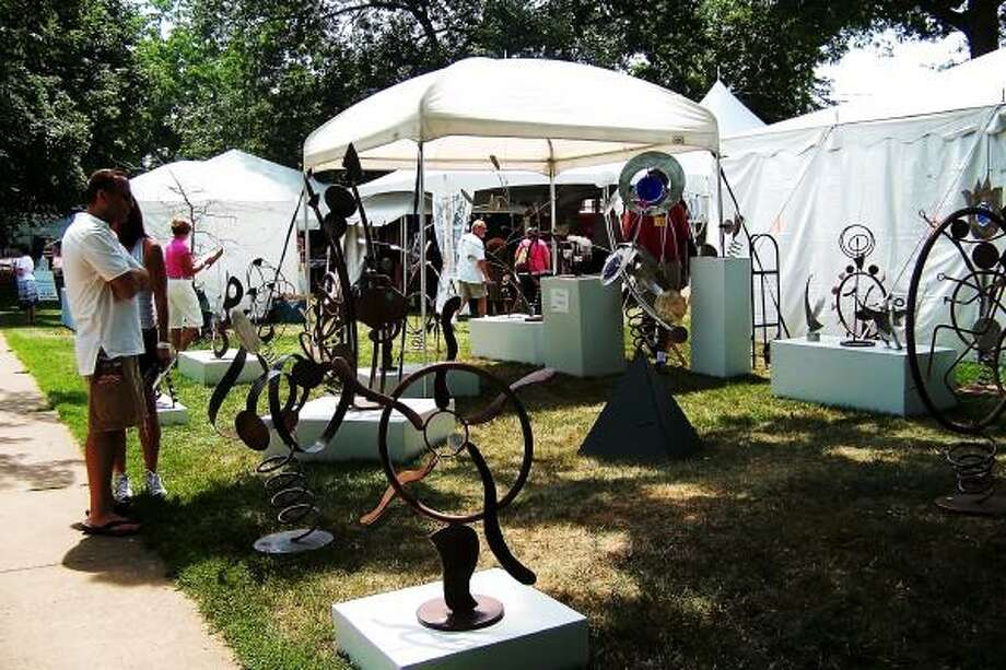 Guilford Art Center photo: Found-object art creations catch passers-by attention.