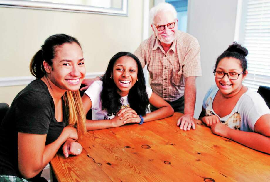 (Melanie Stengel — New Haven Register ) Left to Right: Gabby Vargas, Katrina Green, Michael Brown, and Rebekah Calderon at the ABC House, in Guilford 8/28. Vargas is a high school senior, from Manhattan. Green and Calderon are freshmen from Bridgeport. Brown is on the ABC board. Photo: Journal Register Co.