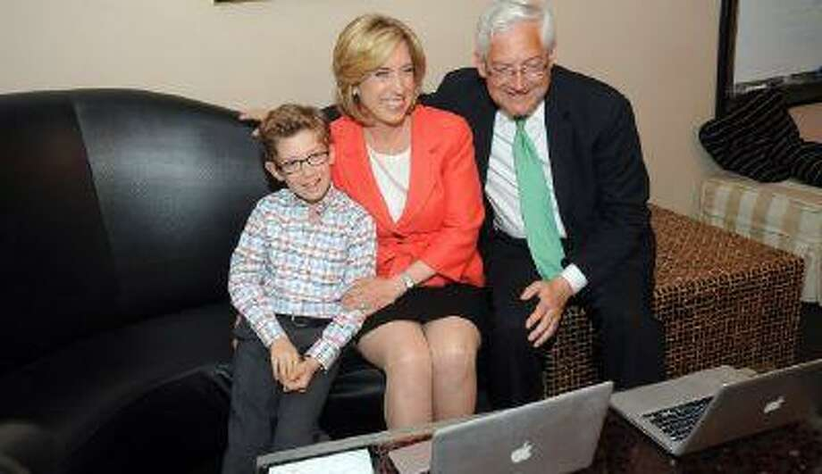 Mayoral candidate Wendy Greuel waits for election results with husband Dean Schramm and son Thomas during her election night party at the Exchange in Los Angeles on May 21, 2013 Photo: Andy Holzman/Staff Photographer / Los Angeles Daily News