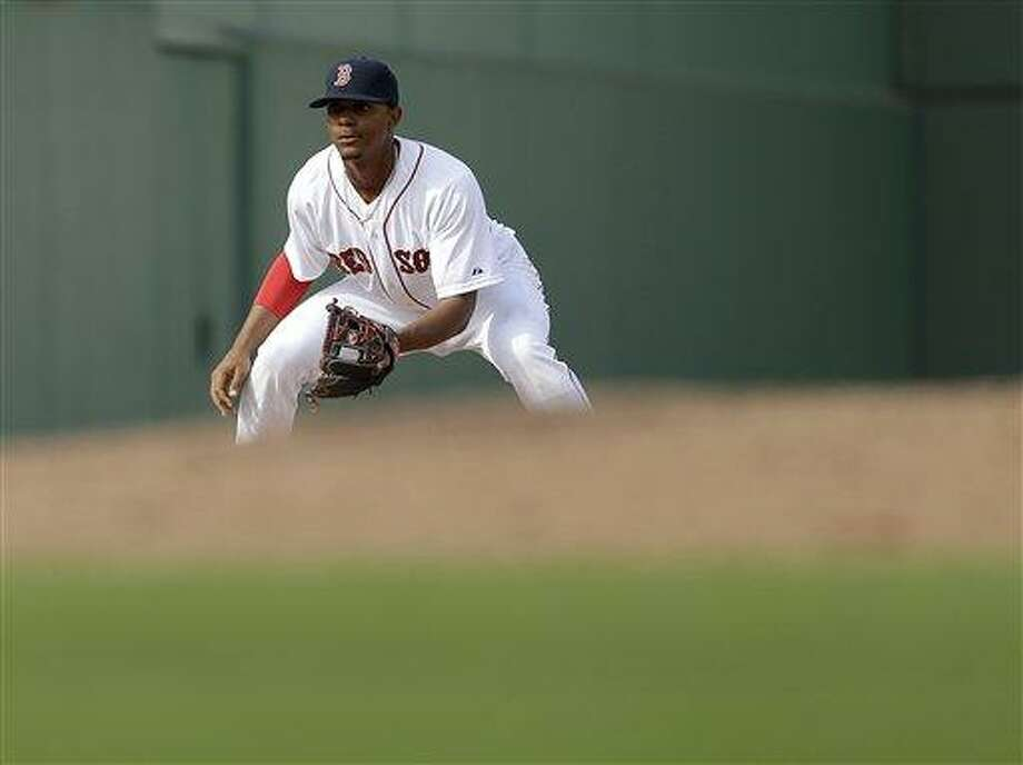 Boston Red Sox's Xander Bogaerts plays in an exhibition spring training baseball game against the Tampa Bay Rays, Saturday, Feb. 23, 2013, Fort Myers, Fla. (AP Photo/David Goldman) Photo: AP / AP