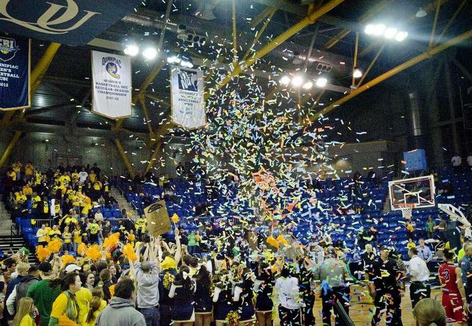 Sports Quinnipiac celebrates.  Melanie Stengel/Register