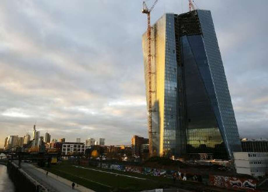The new headquarters of the European Central Bank rises in the eastern part of Frankfurt, Germany.