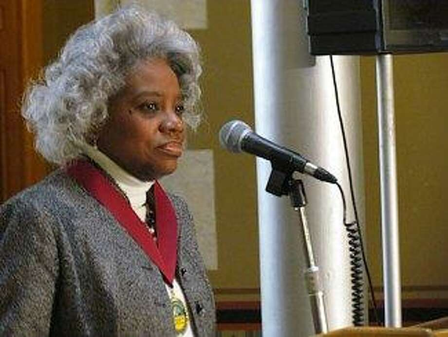The Rev. Bonita Grubbs of New Haven speaks at the state Capitol building on Monday in honor of Martin Luther King Jr. Day  Christine Stuart photo