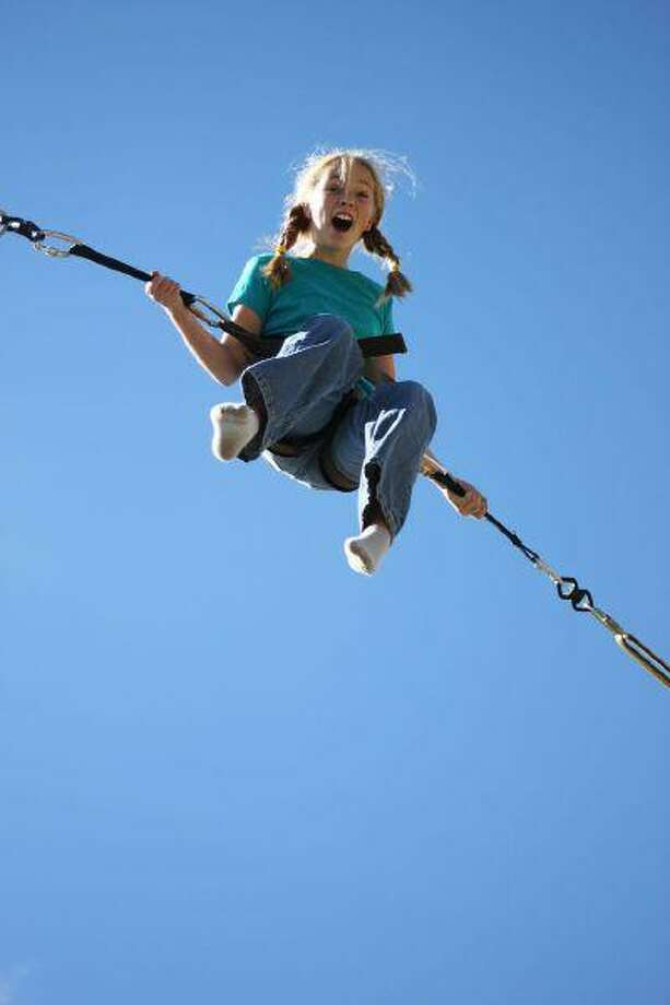 The bungee jump at the Breckenridge Fun Park is a family favorite. (Kara Williams/Special to The Denver Post)