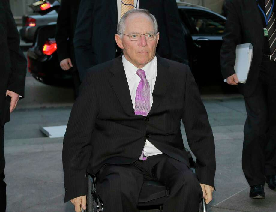 German Finance Minister Wolfgang Schaeuble arrives at a G20 dinner at the reuniÛn World Bank and the International Monetary Fund April 18 in Washington. The group is now meeting in St. Petersburg, Russia.  (AP Photo/Alex Brandon) Photo: AP / AP
