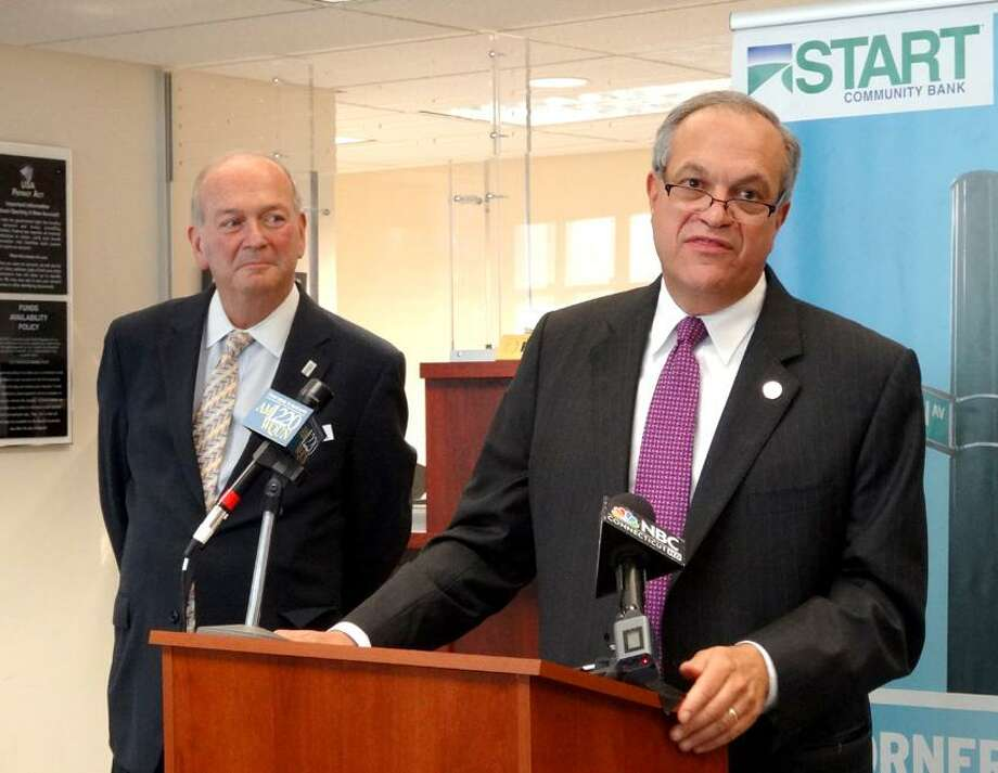 Mayor John DeStefano, Jr. announces his intention to join START Community Bank as Executive Vice President upon completion of his term as mayor of New Haven in January 2014. To left, President of START Community Bank, looks on.