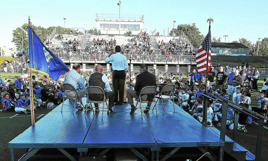 (Peter Casolino — New Haven Register)    Governor Dannel P. Malloy speaks on the stage during an event at Veterans Memorial Park. The event was to announce a state grant of $500G for athletic facility upgrades to the park. Photo: Journal Register Co.