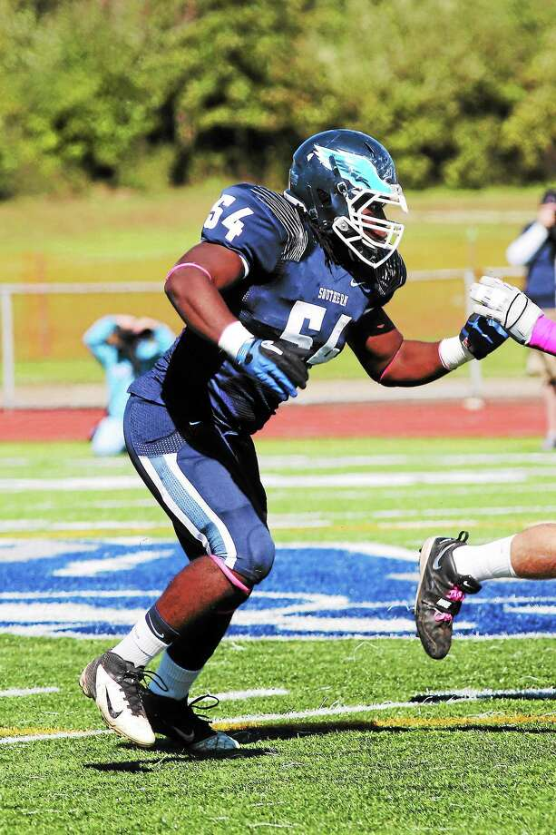 Lineman Mwamba Williams leads the Southern Connecticut State defense. Photo: Photo Courtesy Of SCSU Athletics