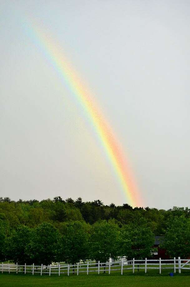 A rainbow was visible along Rt. 41 in Salisbury Tuesday after the storm. JOHN BERRY/REGISTER CITIZEN.