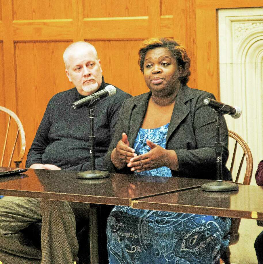 Corinna Martin, mother of slain ECSU student Alyssiah Wiley and founder of Mothers of Victims Equality, speaks at a forum on domestic and street violence in New Haven Thursday. Photo: Rich Scinto — New Haven Register