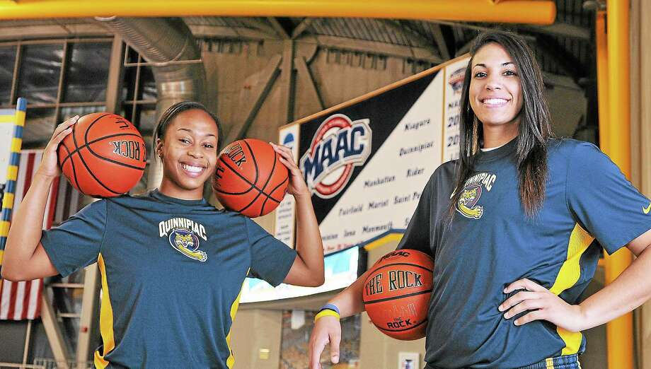 Quinnipiac women's basketball standouts Jasmine Martin, left, and Brittany McQuain Photo: Peter Casolino — Register