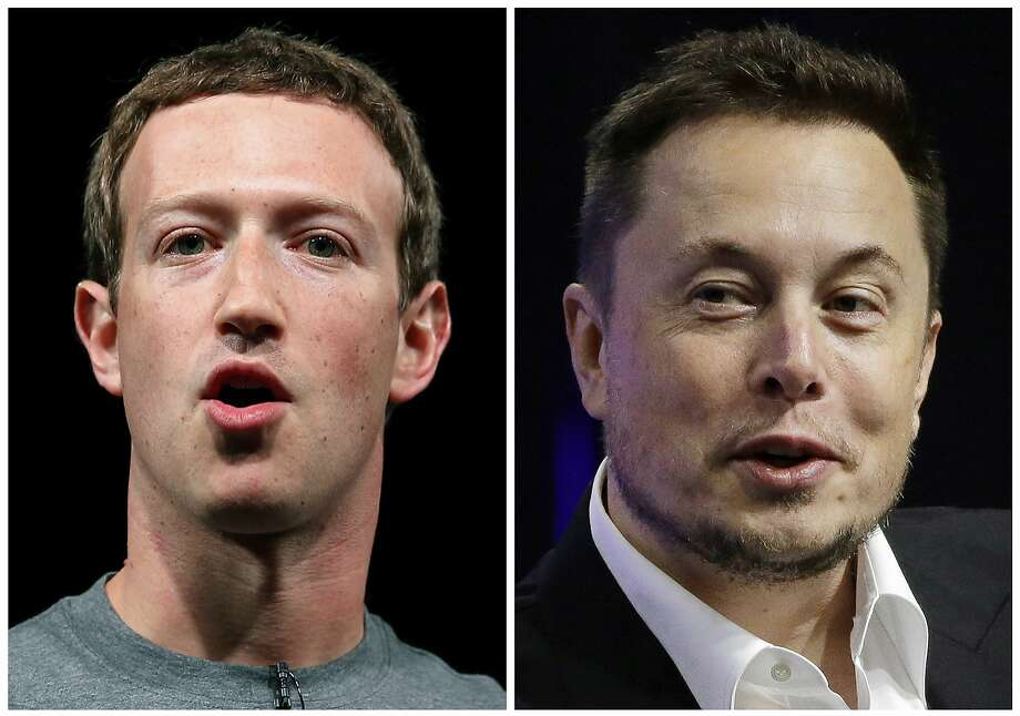 Facebook chief executive Mark Zuckerberg (left) and Tesla boss Elon Musk are both bright guys, but they don't see eye to eye when it comes to AI. Photo: Associated Press