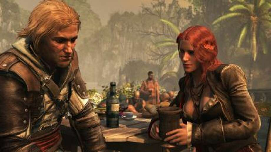 "Kenway (L) and Bonny (R) plunder the Caribbean in ""AC IV: Black Flag."""