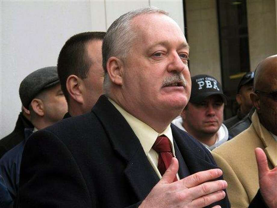 FILE - In this Jan. 15, 2013 file photo, Robert Buckley, vice president of the Affiliated Police Association of Westchester County, speaks at a news conference in White Plains, N.Y. The group demanded that The Journal News take down a map on its website that gives names and addresses of pistol permit holders. New York's new gun control law includes a broad privacy provision that could sharply limit what reporters and the public can discover about potential gun owners. (AP Photo/Jim Fitzgerald, File) Photo: AP / AP