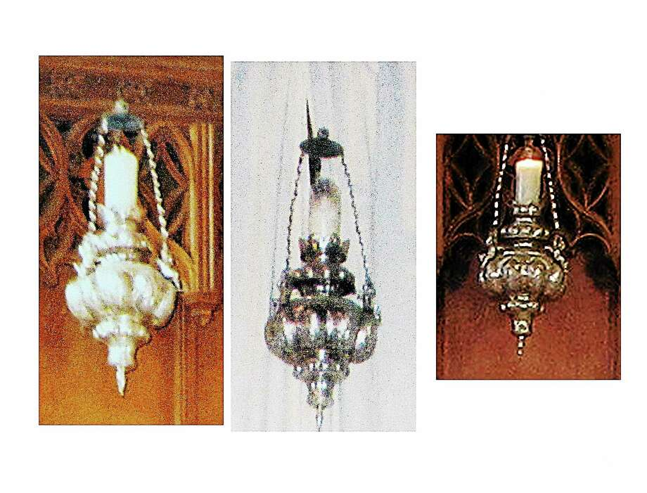 Photos of a lamp that went missing from St. Thomas's Episcopal Church. Photo: SUBMITTED PHOTO