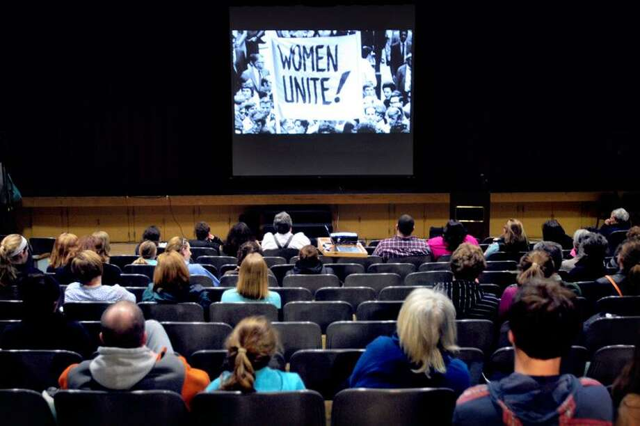 A screening of Miss Representation by Jennifer Siebel Newsom is viewed at Polson Middle School in Madison on 3/18/2013.Photo by Arnold Gold/New Haven Register  AG0488B