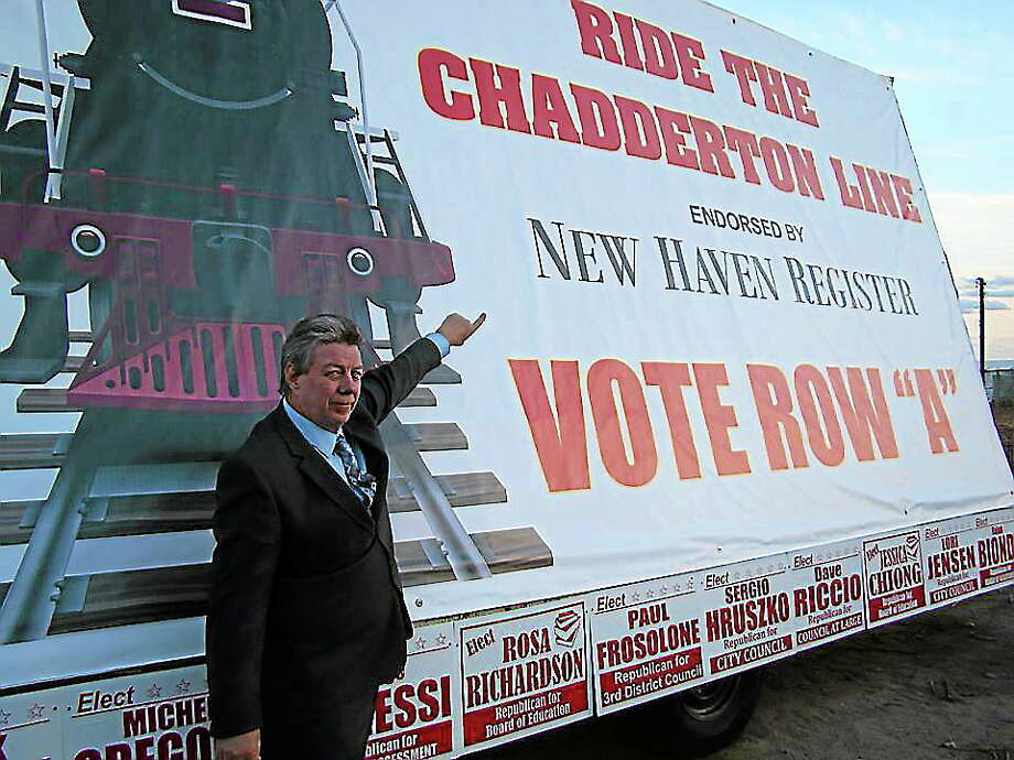 Republican mayoral candidate Bart Chadderton with his truck-mounted campaign sign. Photo: CONTRIBUTED PHOTO