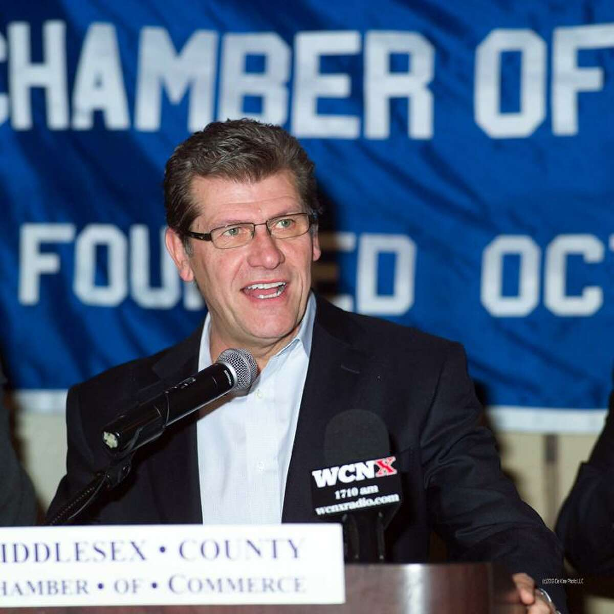 Courtesy, De Kine Photo LLC UConn women's basketball coach Geno Auriemma speaks at the Middlesex Chamber of Commerce member breakfast Monday at the Crowne Plaza Hotel in Cromwell.
