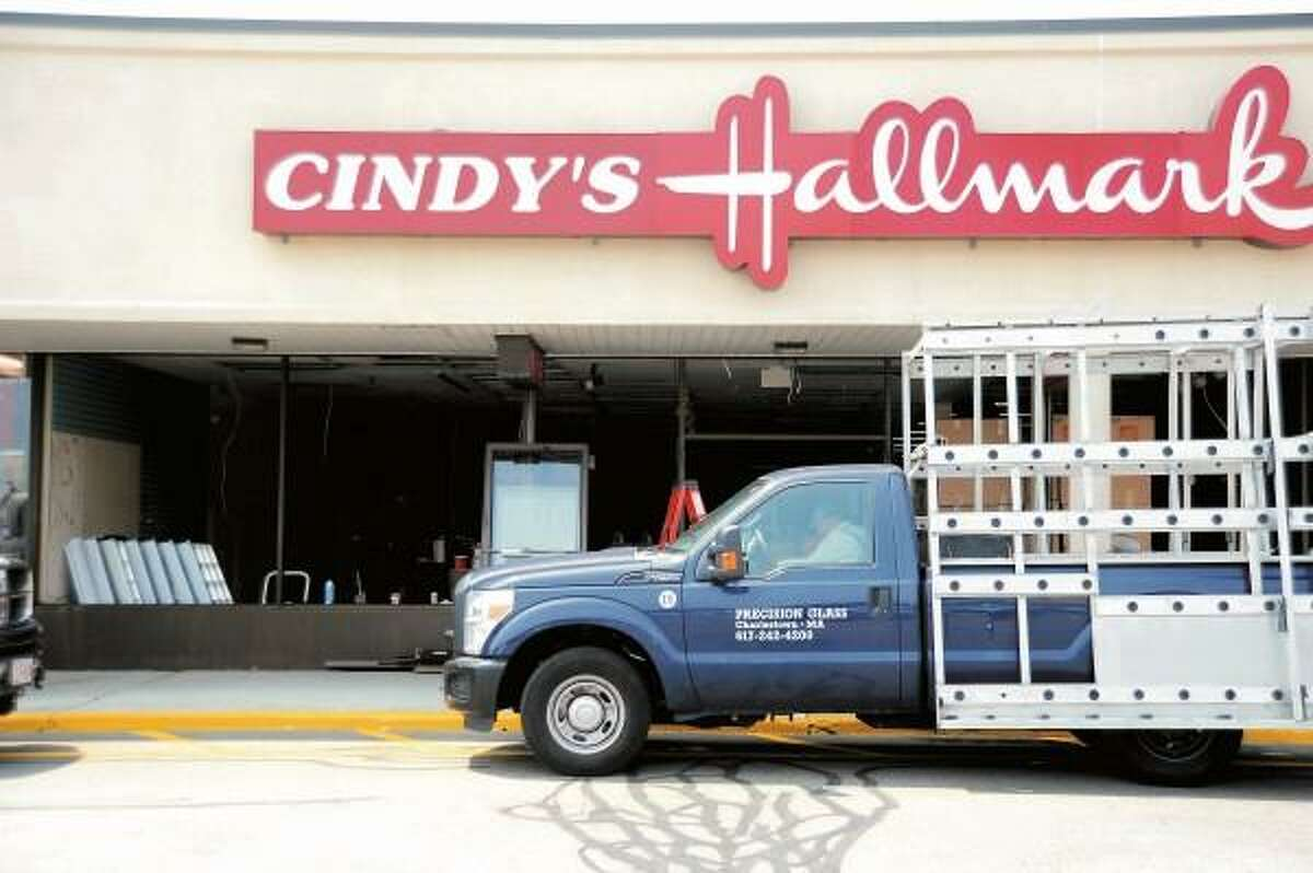 """vmWilliams Ñ Register Cindy's Hallmark in the Branhaven Plaza in Branford which closed it's doors after 38 years in business last week is in the process of being remodeled into """"The Paper Store, Inc."""" a chain store with roots in MA. July 10, 2013."""