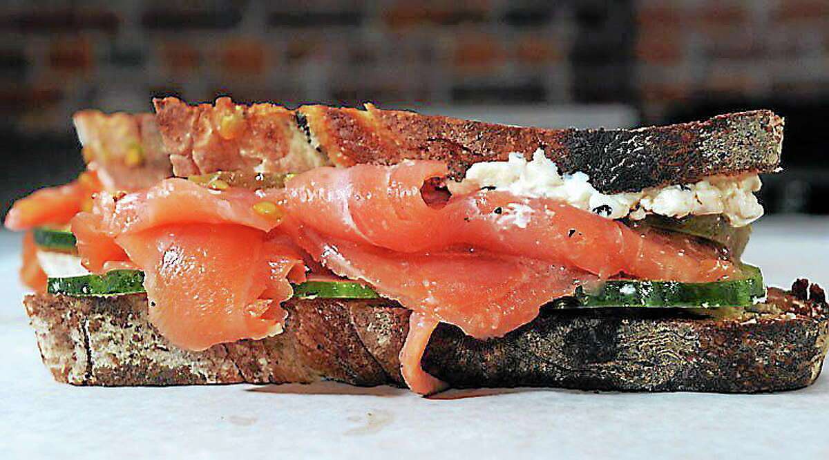 (Mara Lavitt — New Haven Register) October 17, 2013 New HavenThe Equestrian: smoked salmon, cucumber, tomato sesame cream cheese at Meat & Co.