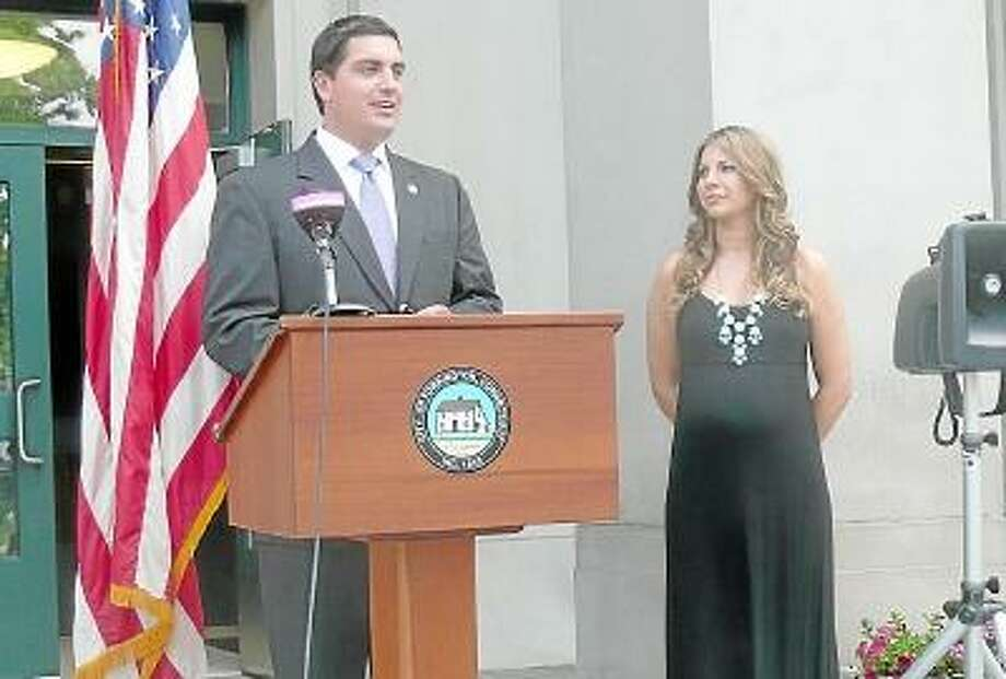 Kate Hartman/Register Citizen. Mayor Ryan Bingham announced that he will not run for a fourth term at a press conference, Monday.