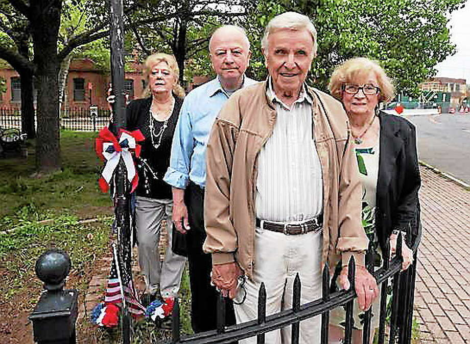 File photo: l to r; Mary Notarino, Bob Fodero, a Korean era veteran, Saverio Nero, a WWII veteran, his wife Adele Nero. Photo-Peter Casolino/Register Photo: Journal Register Co.