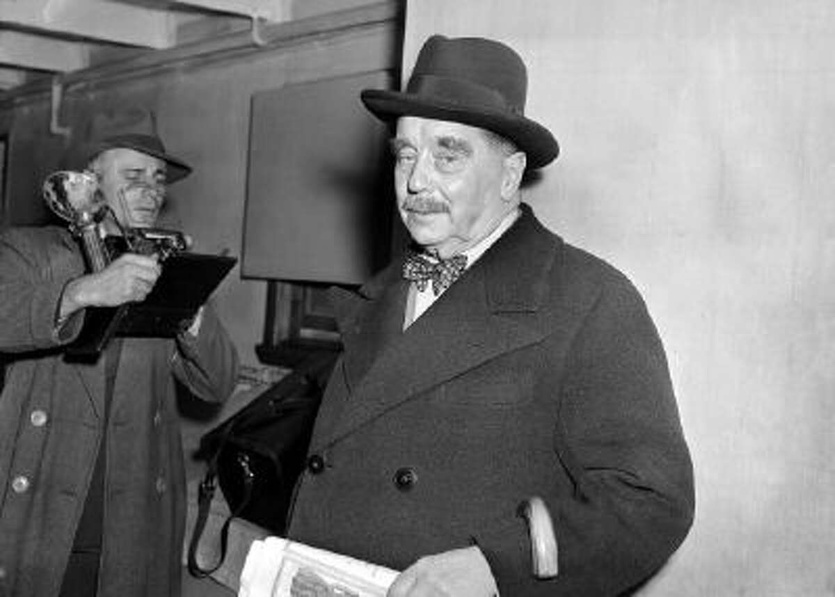 This Oct. 3, 1940 photo shows British historian and novelist H.G. Wells arriving in New York aboard the ocean liner Scythia. An essay by Wells will be published in the new edition of The Strand Magazine. The Strand's latest publication, which comes out Friday, Nov. 1, 2013, also features a private letter by Wells that he wrote in 1935.