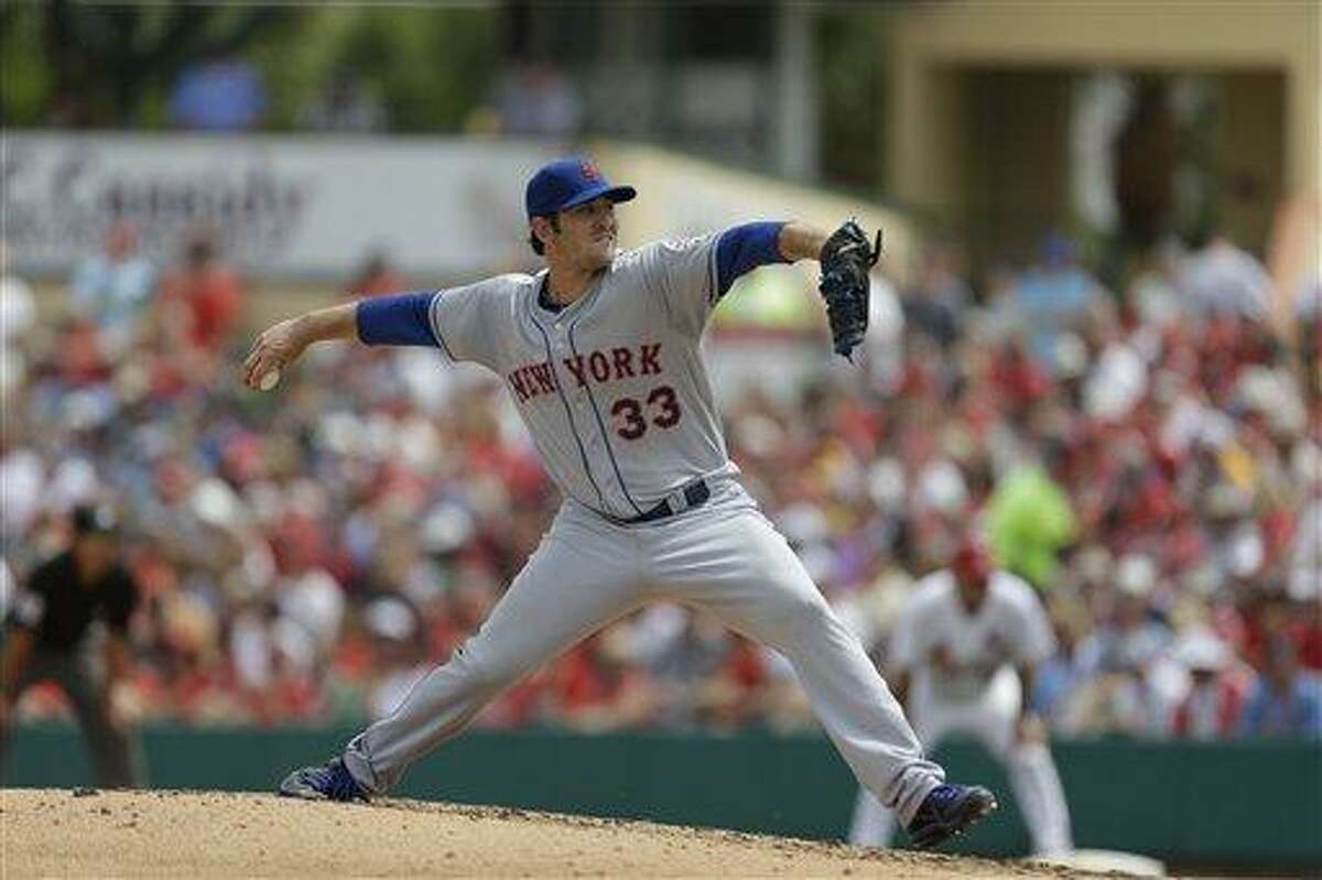 New York Mets starting pitcher Matt Harvey throws during the fifth inning of an exhibition spring training baseball game against the St. Louis Cardinals Monday, March 18, 2013, in Jupiter, Fla. The Mets won 3-2. (AP Photo/Jeff Roberson)