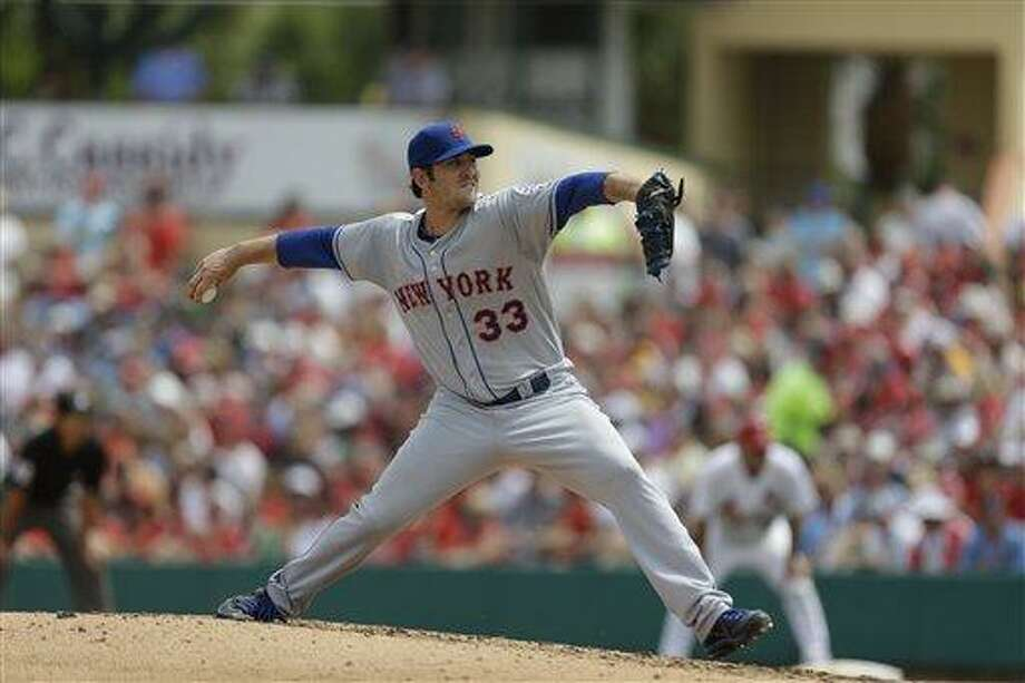 New York Mets starting pitcher Matt Harvey throws during the fifth inning of an exhibition spring training baseball game against the St. Louis Cardinals Monday, March 18, 2013, in Jupiter, Fla. The Mets won 3-2. (AP Photo/Jeff Roberson) Photo: ASSOCIATED PRESS / AP2013