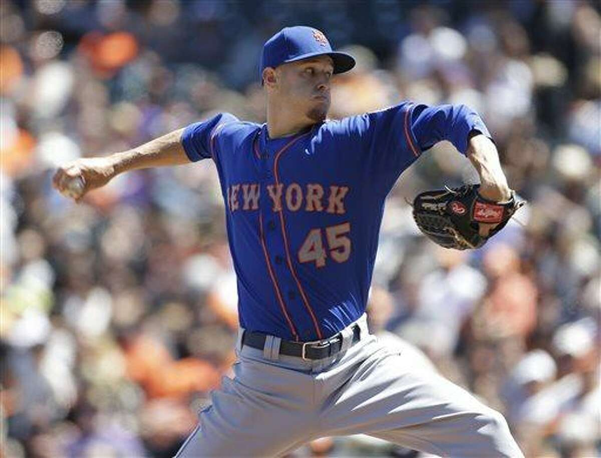 New York Mets starting pitcher Zack Wheeler throws against the San Francisco Giants in the seventh inning of their baseball game on Wednesday, July 10, 2013, in San Francisco. New York won the game 7-2 to sweep a three-game series. Wheeler was the winning pitcher. (AP Photo/Eric Risberg)