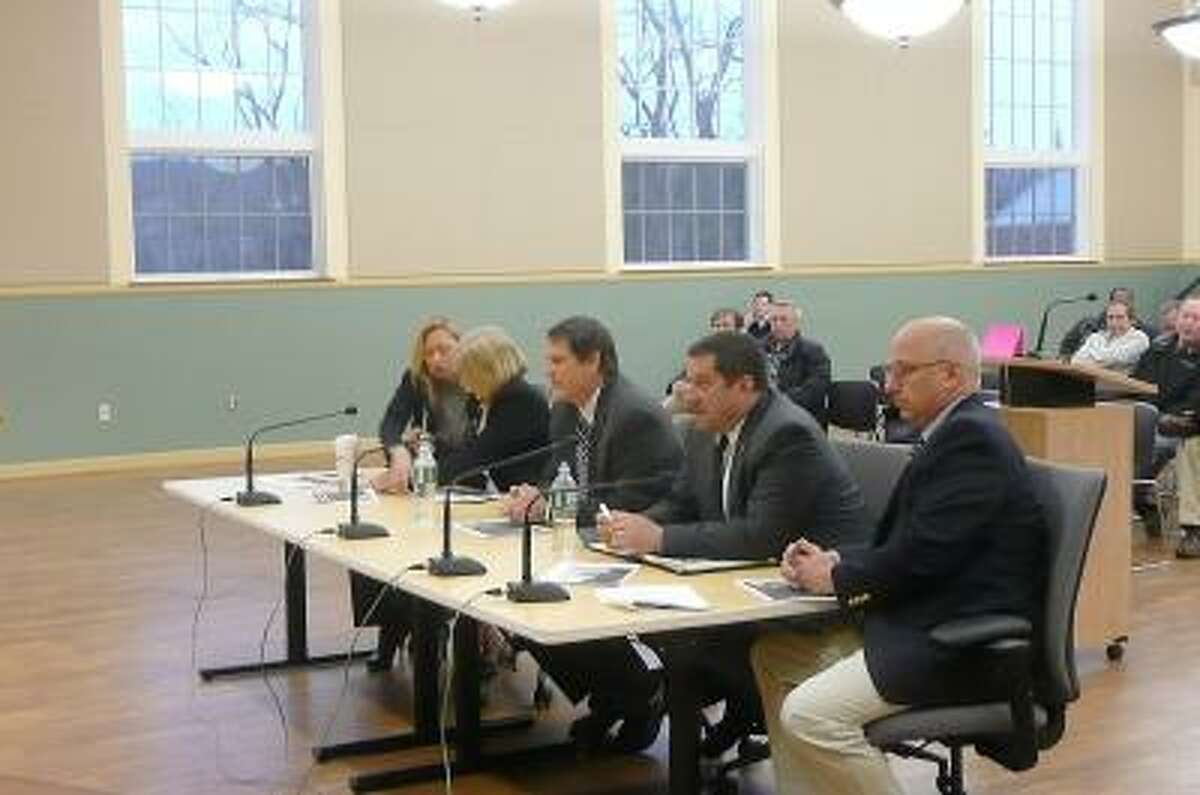 Kate Hartman/Register Citizen. Senators Kevin Witkos and Clark Chapin and Representatives Jay Case, Michelle Cook and Roberta Willis addressed the City Council about budget in Hartford.