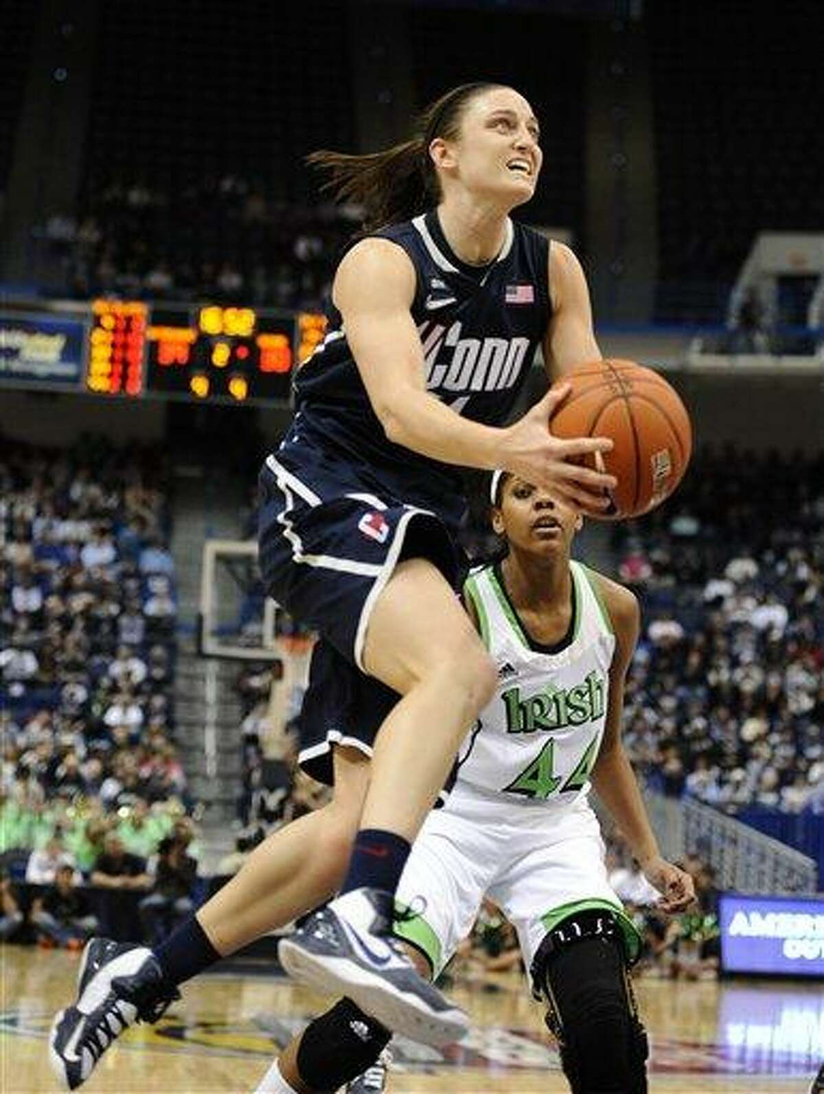 Connecticut's Kelly Faris in the second half of an NCAA college basketball game in the final of the Big East Conference women's tournament in Hartford, Conn., Tuesday, March 12, 2013. (AP Photo/Jessica Hill)