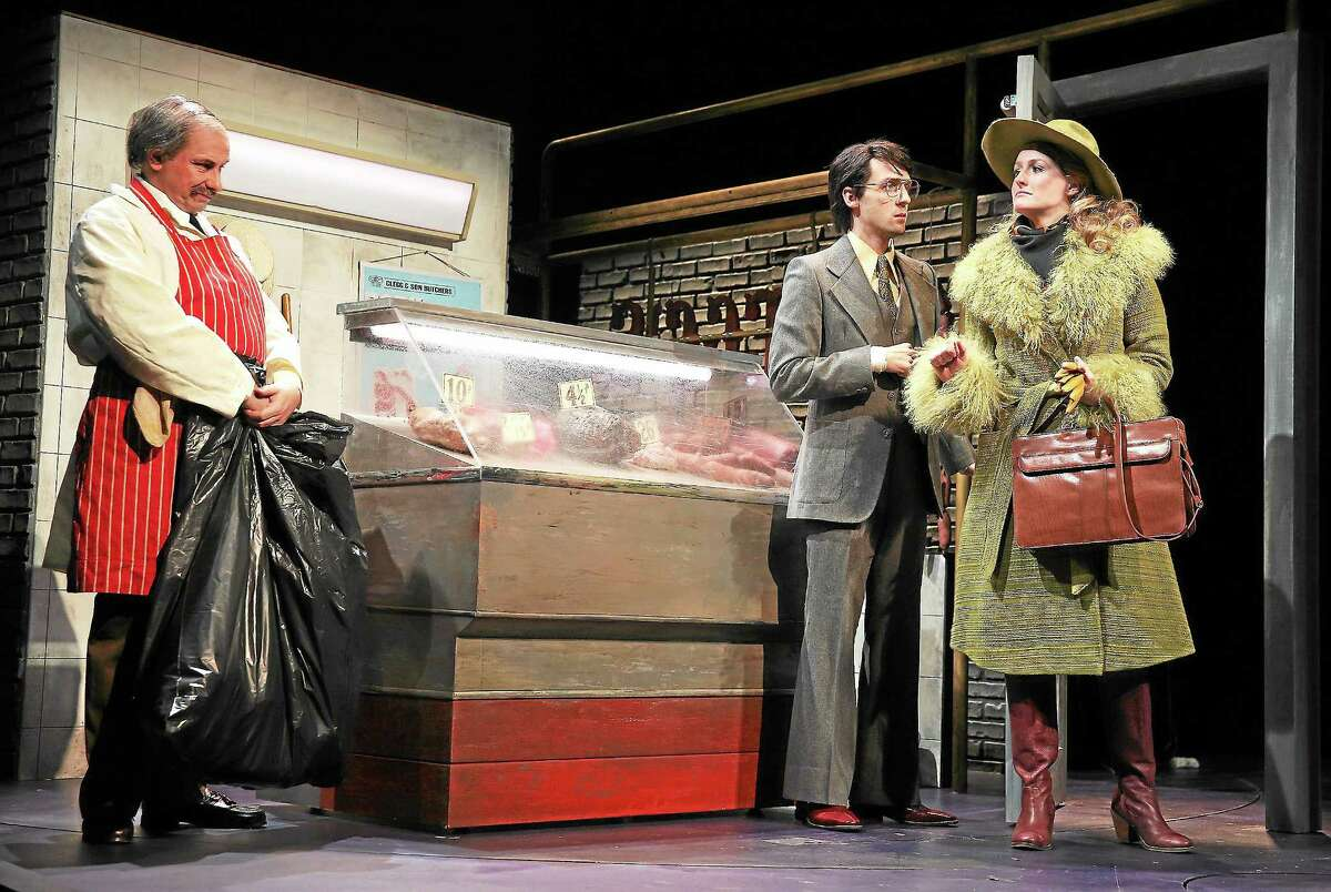 """Anthony Cochrane, Joby Earle and Brenda Meaney in a scene from Yale Rep's """"Owners,"""" running through Nov. 16."""