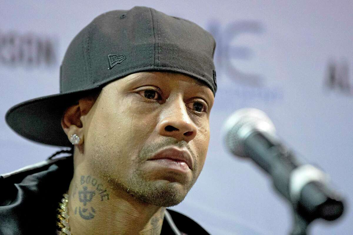 Former 76ers superstar Allen Iverson speaks during a news conference Wednesday in Philadelphia where he officially retired from the NBA, ending a 15-year career during which he won the 2001 MVP award and four scoring titles. Iverson retired in Philadelphia where he had his greatest successes and led the franchise to the 2001 NBA finals.