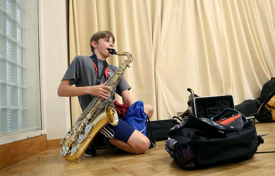 Erik Dodge of San Mateo is one of the students participating in the Stanford Jazz Workshop's popular summer camps. Photo: Liz Hafalia, The Chronicle