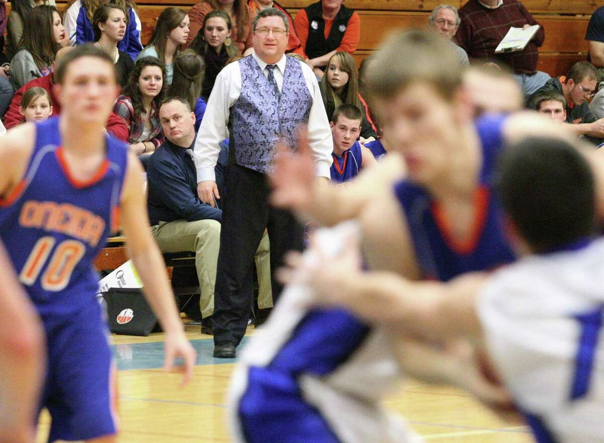 Dispatch Staff Photo by JOHN HAEGER twitter.com/oneidaphoto Oneida boys basketball coach Jeff Didio looks on in the first half of his team's game in Camden on Friday Jan. 18, 2013. Oneida's win was the 100th for the 10-year veteran.