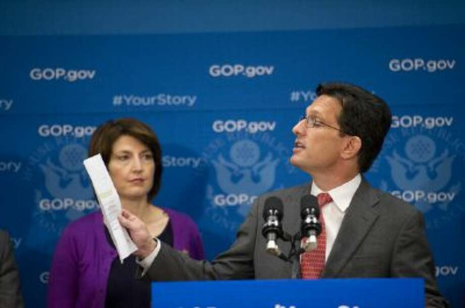 House Majority Leader Eric Cantor, R-Va., speaks at a press conference on Oct. 29, where Republicans attacked the healthcare.gov exchanges again. / © 2013 CQ Roll Call