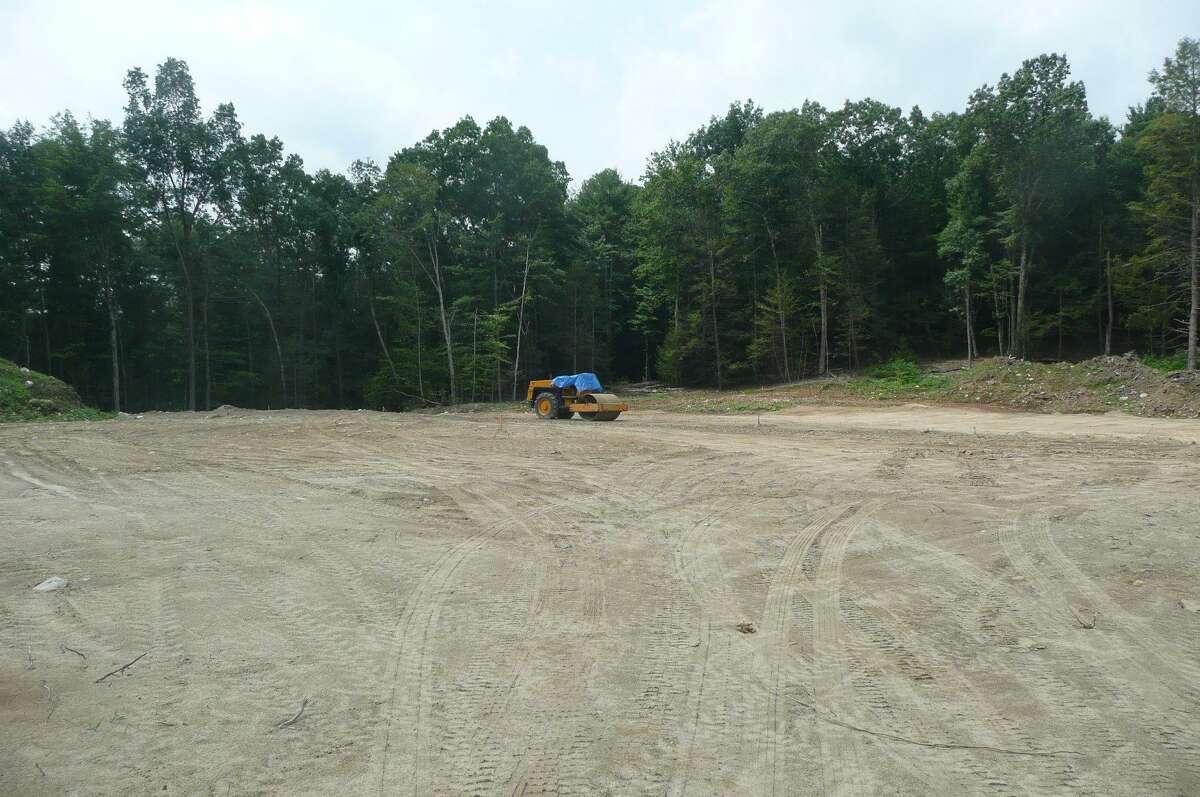 A new football field is under construction at Ann Antolini School in Torrington. (Kate Hartman - Register Citizen)