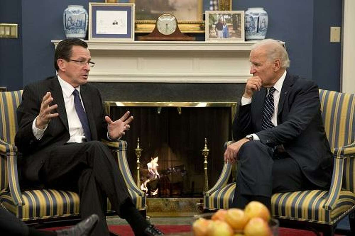 Vice President Joe Biden meets with Connecticut Governor Dan Malloy in his West Wing office in Washington, DC, Jan. 18, 2013. (Official White House Photo by David Lienemann)