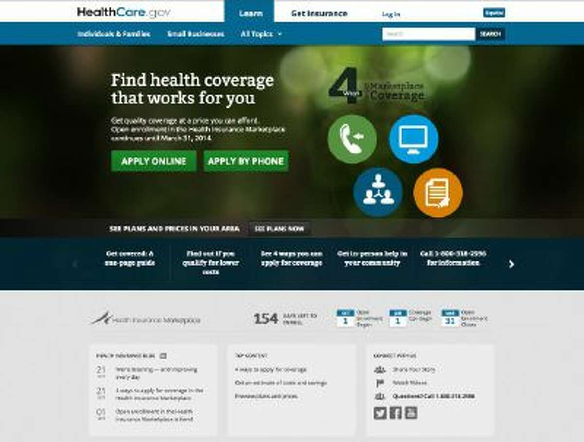This Oct. 28, 2013 screenshot shows the U.S. Department of Health and Human Services' main landing web page for HealthCare.gov.