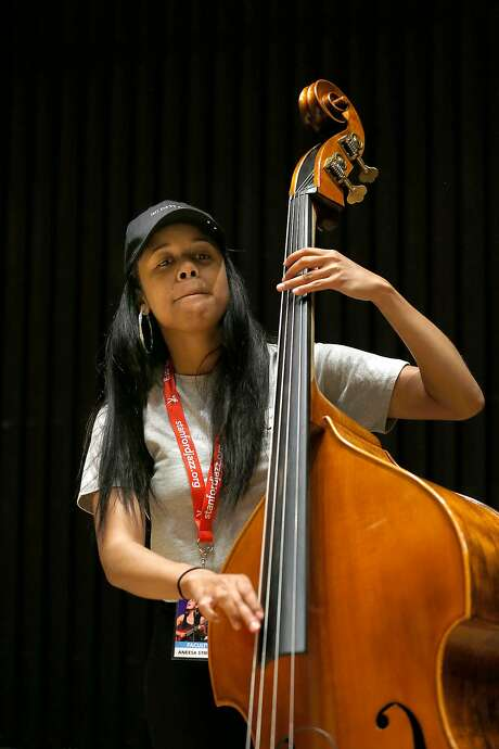 Faculty member Aneesa Strings plays for the students at the Stanford Jazz Workshop, a summer mainstay in the Bay Area since 1972. Photo: Liz Hafalia, The Chronicle