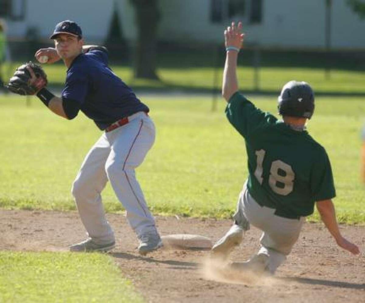 JOHN HAEGER @OneidaPhoto on Twitter/ONEIDA DAILY DISPATCHThe Sherrill Silversmiths' Mark Sherlock (18) slides into second base during the team's home opener last year.
