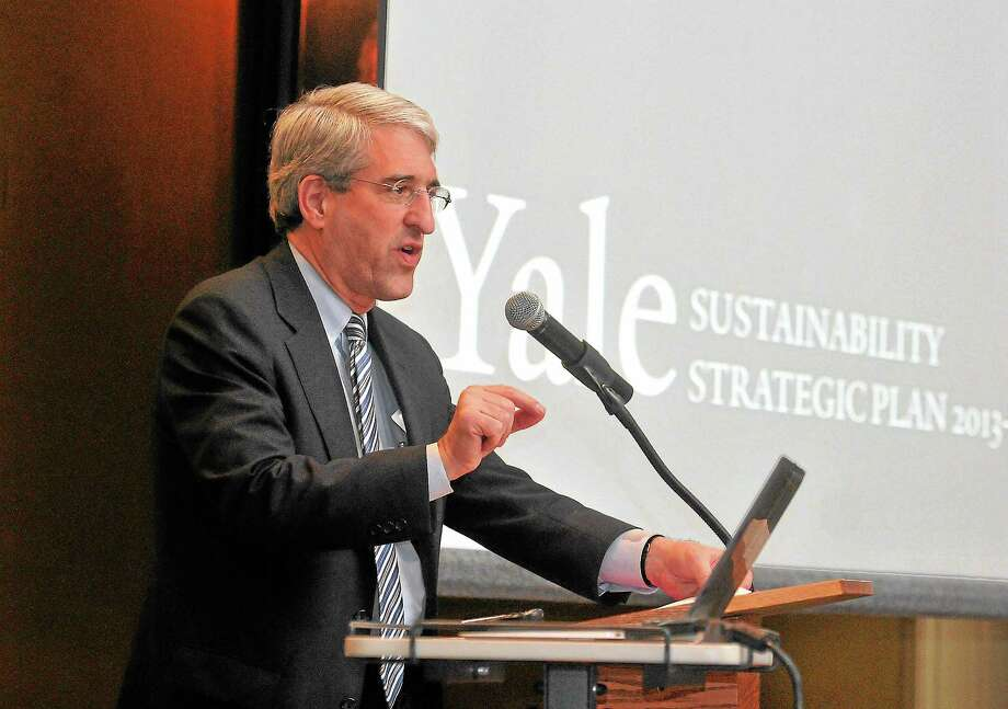 (Peter Casolino — New Haven Register)  Yale President Peter Salovey speaks during a launch for the Yale sustainability plan for the next three-years.  pcasolino@NewHavenRegister Photo: Journal Register Co.