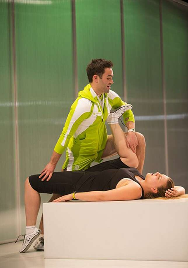 "T. Charles Erickson photo: Trainer Brian (Anthony Bowden) shares his expertise with Myrtle (Meredith Holzman) in ""January Joiner: A Weight Loss Horror Comedy."""
