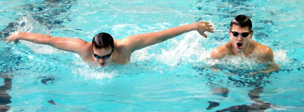 Branford swimmers Alex Boucher, left, and Alex Gogliettino. Mara Lavitt/New Haven Register1/17/13