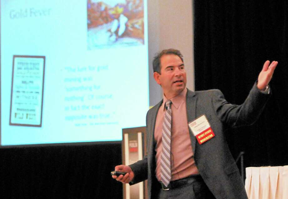 Jeff Marotta of the Department of Psychiatry at Oregon Health and Sciences University gives the keynote address Wednesday at the Connecticut Council on Problem Gambling at the Omni New Haven Hotel at Yale. Photo: PETER HVIZDAK — NEW HAVEN REGISTER        / ©Peter Hvizdak /  New Haven Register