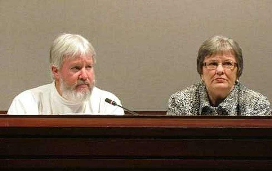 Reps. Craig Miner, R-Litchfield, and Linda Orange, D-Colchester  Christine Stuart photo