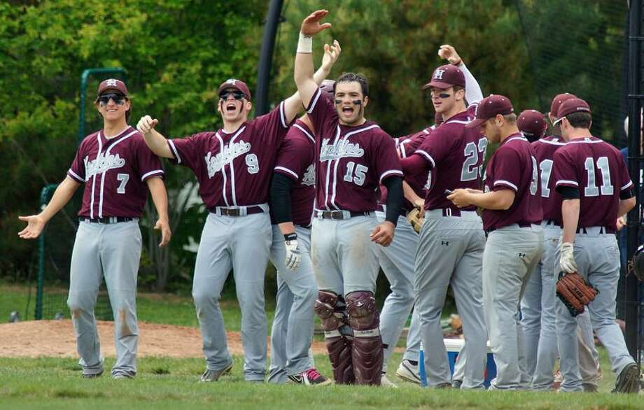 """New Haven-- Hopkins  celebrates a run during the 4th inning. Photo-Peter Casolino/Register <a href=""""mailto:pcasolino@newhavenregister.com"""">pcasolino@newhavenregister.com</a>"""